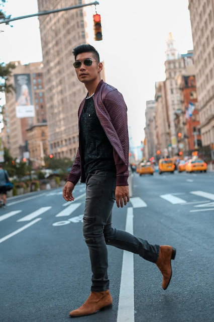 Leo Chan wearing Burgundy Leather Bomber Jacket | Asian Male Model and Blogger