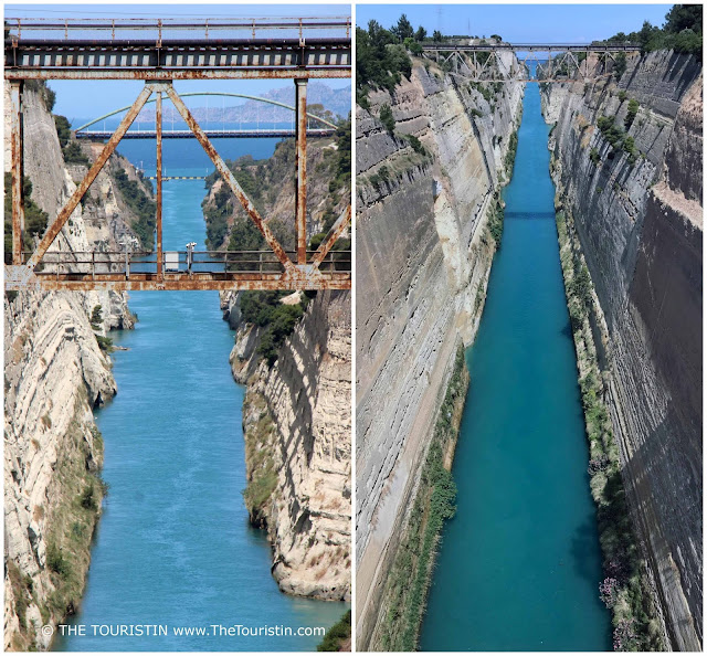 Blue water and the bridge over the Corinth canal in Greece