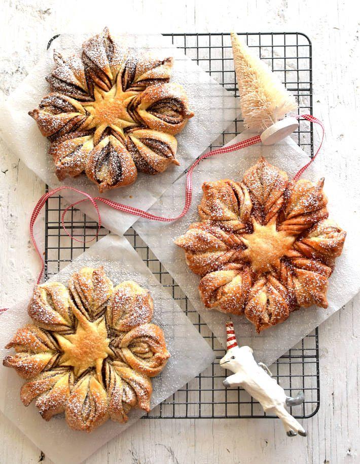 Estrellas de pan rellenas con nutella, canela y mermelada