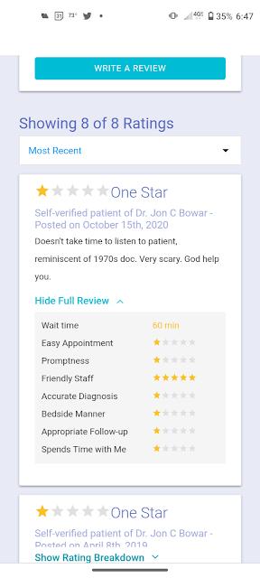 Dr Jon Bowar M.D.other patient reviews