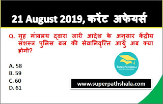 Daily Current Affairs Quiz 21 August 2019 in Hindi