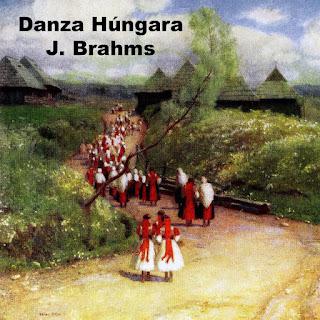 Imagen para el tono Danza Húngara Nº5  de Brahms - Muestra un cuadro con húngaras atravesando un camino de tierra. A su alrededor, un florido y colorido paisaje con bellas casas húngaras rurales