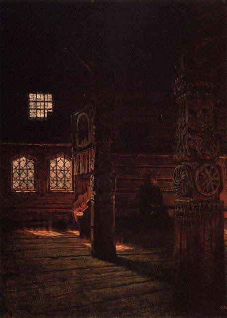 Василий Васильевич Верещагин - Внутренний вид деревянной церкви Петра и Павла в Пучуге. 1894
