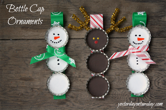 Templates For Homemade Christmas Decorations : Make recycled bottle cap christmas ornaments creative