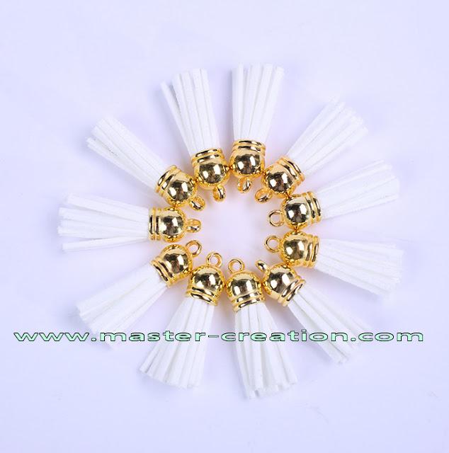 white keychain tassels