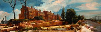 Plein air oil painting of Ways Terrace in Pyrmont by artist Jane Bennett