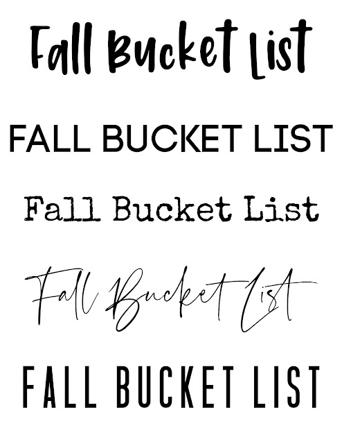 Fall Bucket List printable for fonts