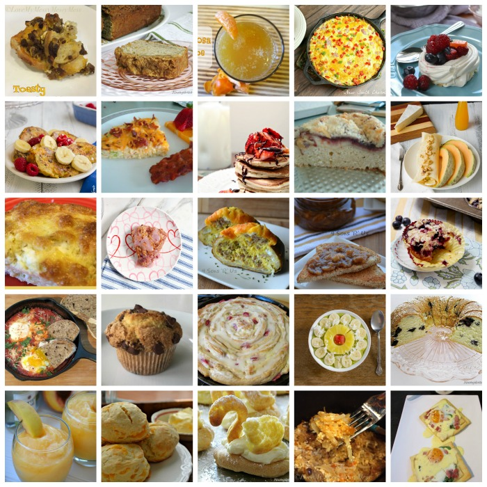 Collage of breakfast items