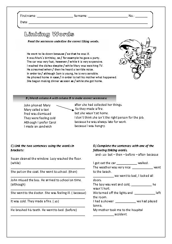 Linking Words Worksheet My English Printable Worksheets