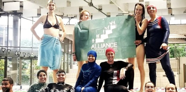 Muslim women 'inspired by Rosa Parks' defy burkini ban at French pool