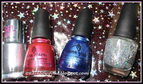 Rival de Loop: Silvervibes; China Glaze: The More The Berrier & Blue Bells Ring; OPI: Desperately Seeking Sequins