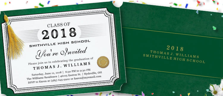 green graduation party diploma invitation