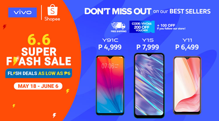 Get the best deals on Vivo smartphones with  Shopee 6.6 Super Flash Sale