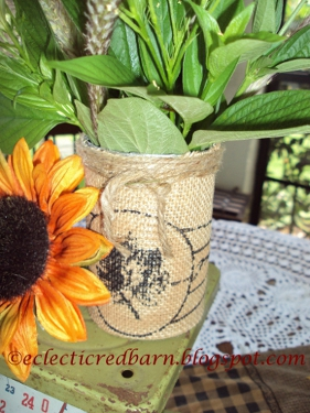 Eclectic Red Barn: Burlap wrapped containers with jute ties