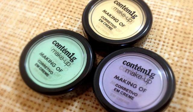 Três embalagens de corretivos coloridos da contém1g