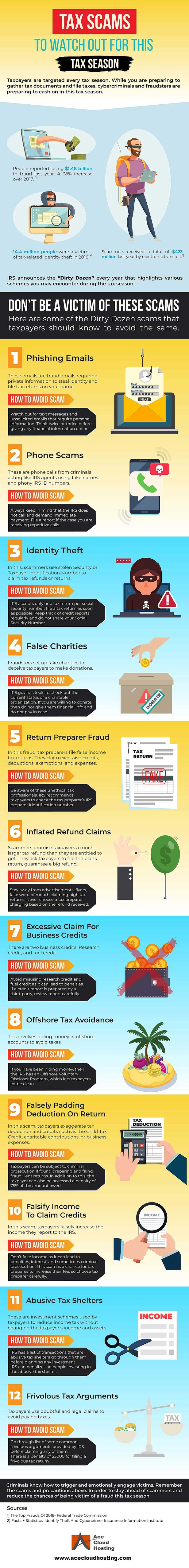 12 Tax Scams To Watch Out This Tax Season #infographic #Tax Scams #Scams #Tax Season #Crime
