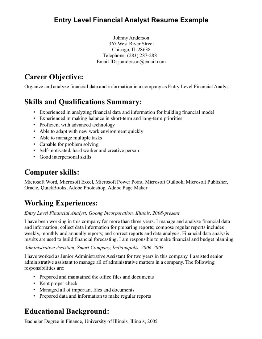 Good Examples Resume Good Sample Resume Resumes Examples Badak Skills Good Sample  Resume Profile Berathen Inspire  Sample Resume For Financial Analyst