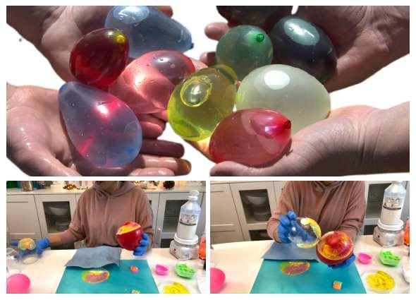 estampaciones con globos, manualidades dibujos abstractos