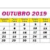 Calendário/Agenda do mês de OUTUBRO/2019 - Obrigações Trabalhistas e Previdenciárias