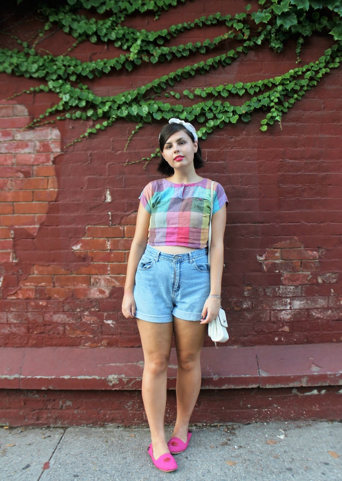 colorful plaid crop top