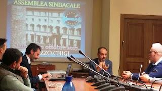 Palazzo Chigi, momenti dell'assemblea sindaacale del 30 ottobre 2017