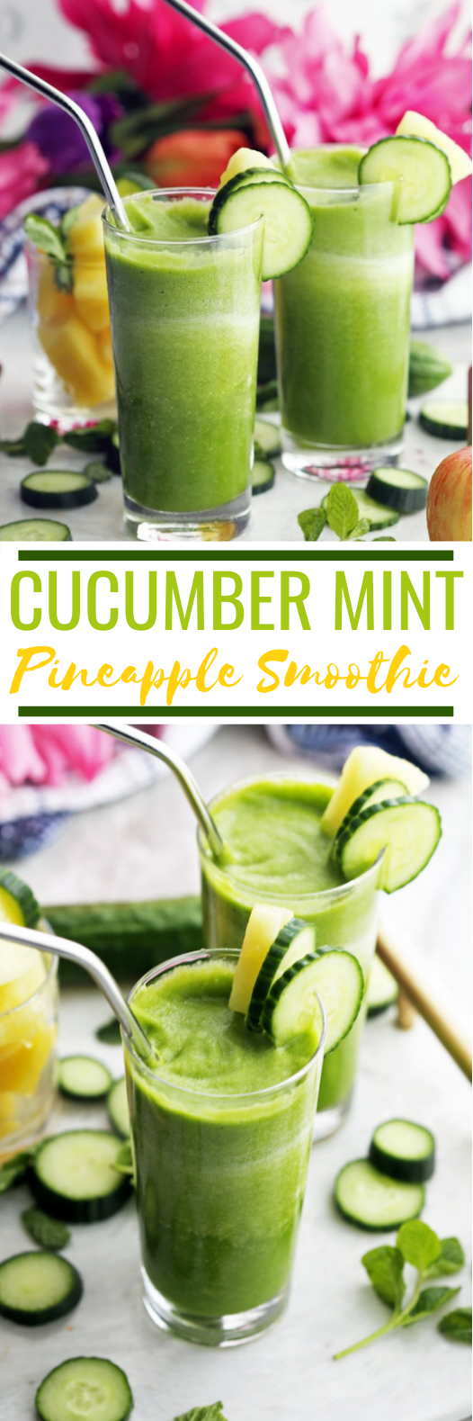 Cucumber Mint Pineapple Smoothie #healthy #drink #detox #smoothies #breakfast