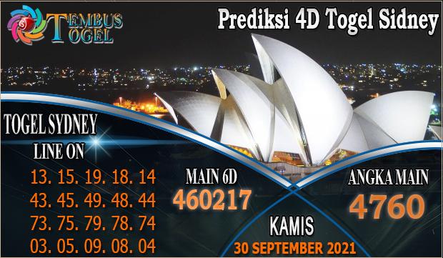 Prediksi 4D Togel Sidney, Kamis 30 September 2021