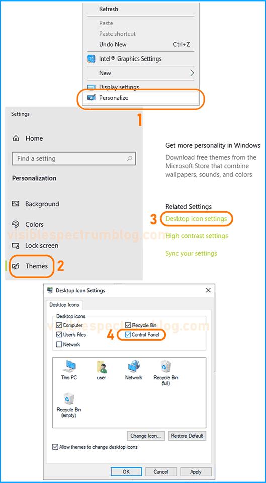 Cara menampilkan Control Panel di layar Desktop