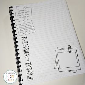 free-writing pages with prompts for kids