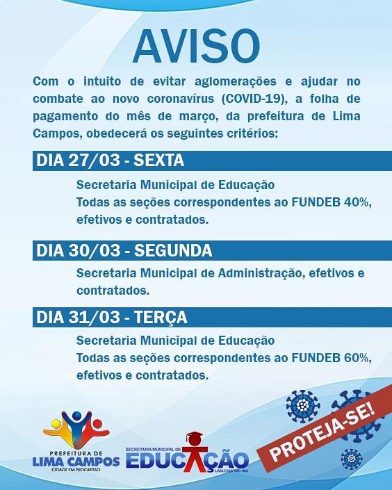 Prefeitura de Lima Campos vai pagar salários em dias diferentes, para ter alguns critérios de segurança..............