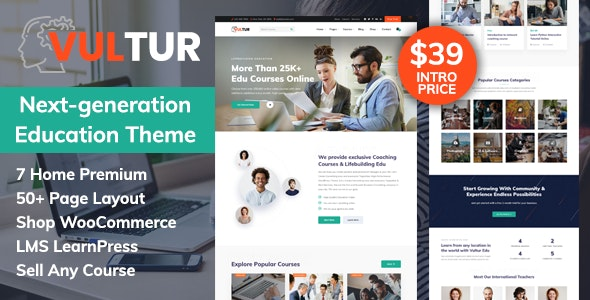 Vultur - Courses & LMS Education WordPress Free Download, Nulled