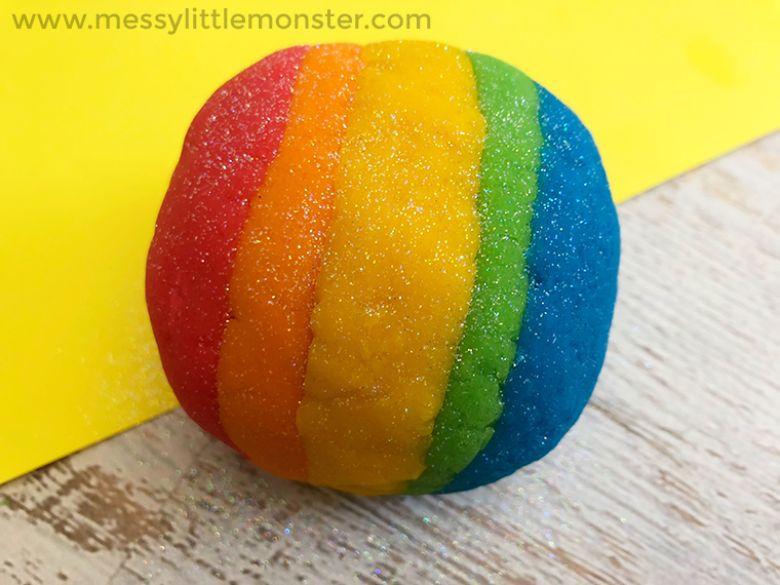 Rainbow playdough spring activity for kids