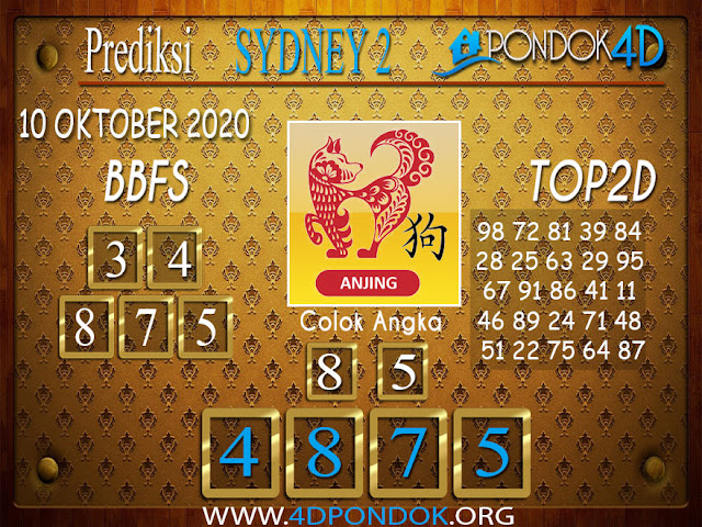 Prediksi Togel SYDNEY 2 PONDOK4D 10 OKTOBER 2020