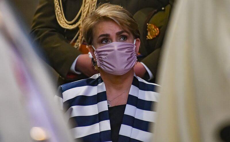 Grand Duchess Maria Teresa wore a blue striped satin jacket from Maison Rabih Kayrouz