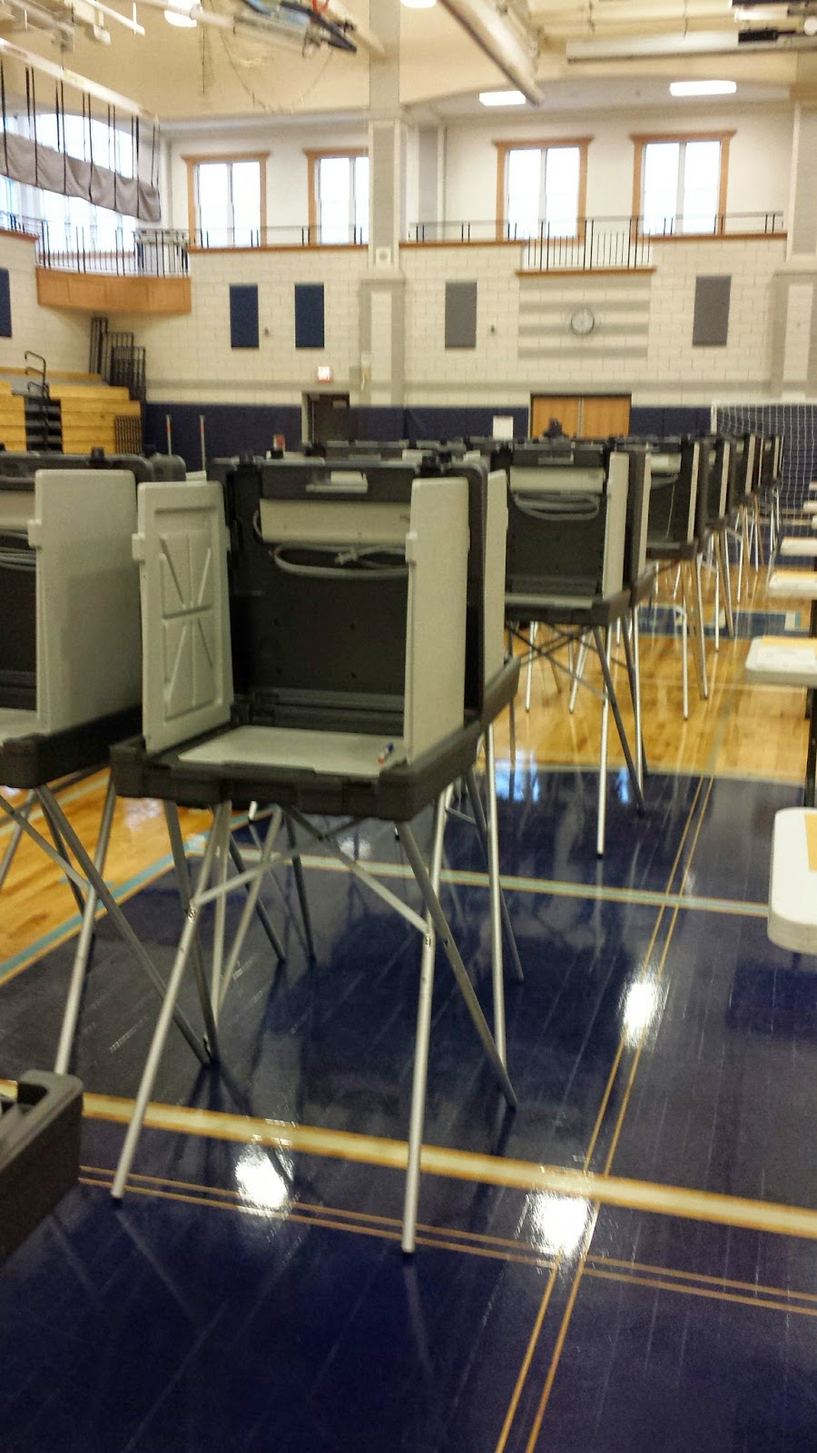 election booths at Franklin High School where all precincts in Franklin cast their ballots