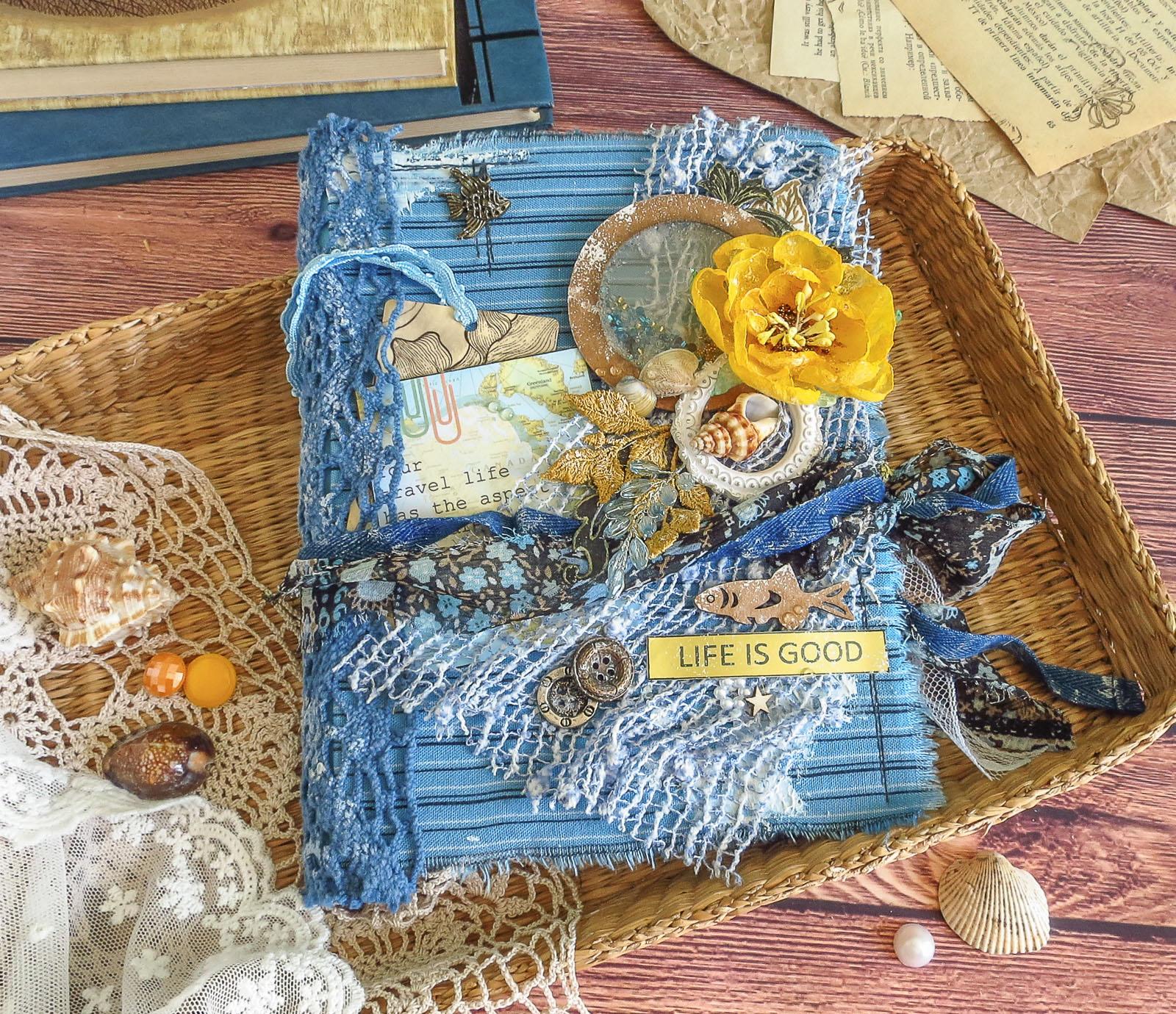 sea, scrapbooking, shell, seagull, скрапбукинг, фотопапка, Allmacraft, Fabrika Decoru