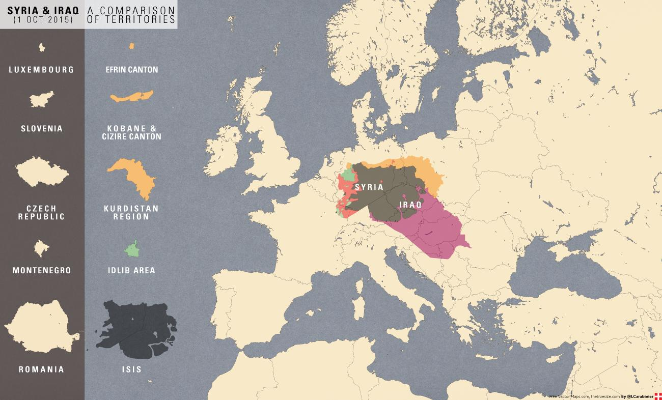 Size of territory comparison, Syria/Iraq conflicts and Europe