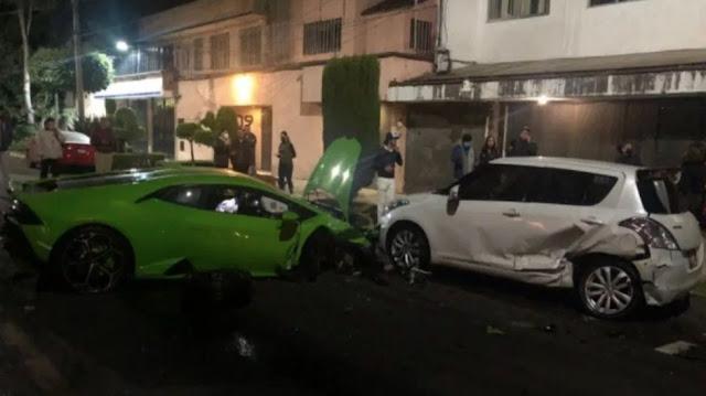 """VIDEO.- Chocó y reventó su Lamborghini en Polanco de más de 7 millones , sus escoltas lo sacaron y cobardemente huyeron en una Land Rover, autoridades ya lo """"Buscan"""""""