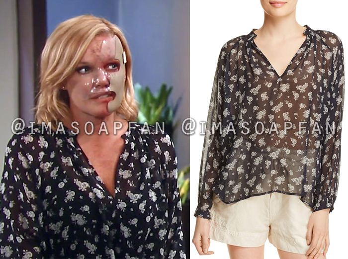 Ava Jerome, Maura West, Black and White Floral Blouse, Vince, General Hospital, GH