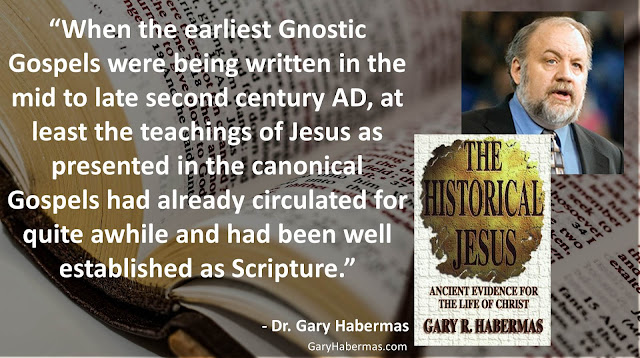 "Quote from Gary Habermas from his book ""The Historical Jesus: Ancient Evidence For The Life of Christ""- ""When the earliest Gnostic Gospels were being written in the mid to late second century AD, at least the teachings of Jesus as presented in the canonical Gospels had already circulated for quite awhile and had been well established as Scripture."" #History #Jesus #Christianity #Evidence #Religion #God"