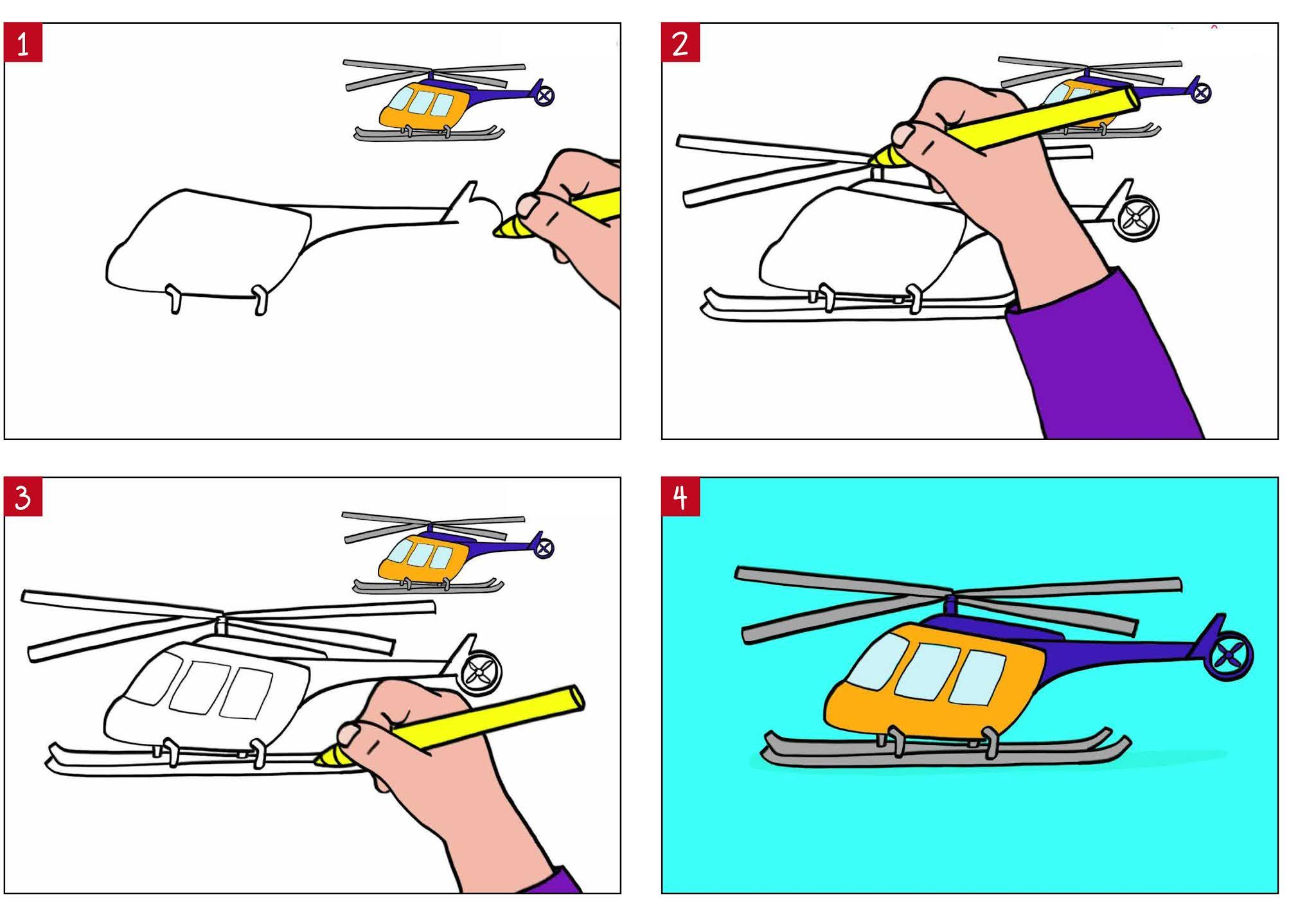 كيفية رسم هليكوبتر للأطفال