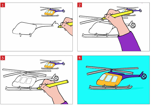 رسم طائرة هليكوبتر خطوة بخطوة