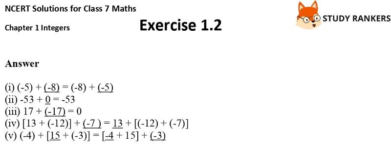 NCERT Solutions for Class 7 Maths Ch 1 Integers Exercise 1.2 2