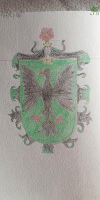 herb, von Le Thick, czarny orzeł, tarcza zielona, róża czerwona, klejnot, labry, heraldyka