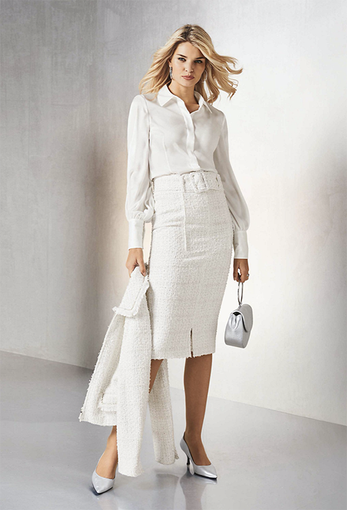The other guys will know you mean business when you show up at the office in this skirt suit from Madeleine.