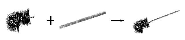 將切斷的毛刷頭裝上彈簧或長棒