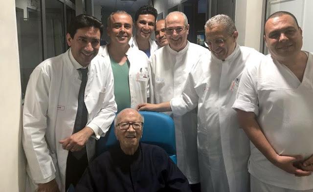 رسميا رئيس الجمهورية الباجي قائد السبسي يغادر المستشفى العسكري