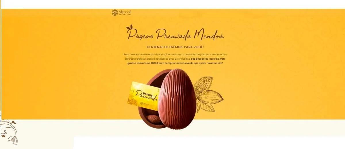 Promoção Mendoá Chocolates Páscoa 2020 Premiada Ganhe 300 Reais em Compras