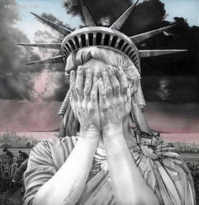 The Statue of Liberty covers her eyes at the election of Donald Trump