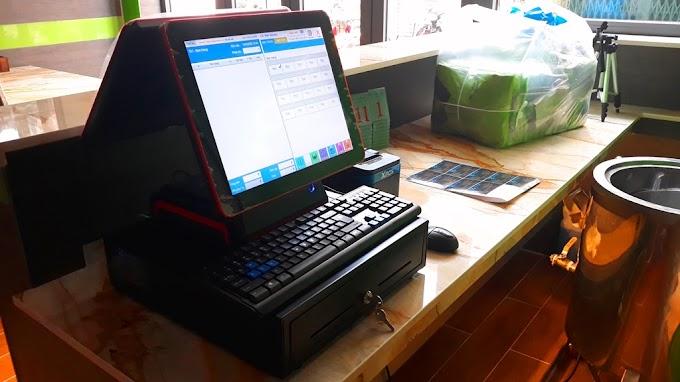 Trọn bộ máy pos cảm ứng 2 màn hình, máy in bill, máy in bếp, ngăn kéo đựng tiền: 24.990.000đ